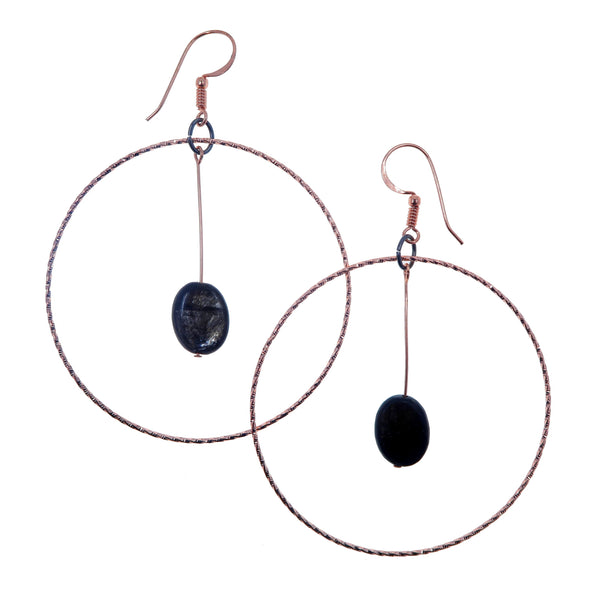 "Mica Earrings 3.5"" Shiny Reflective Genuine Black Oval Gemstone Big Copper Hoops B01"