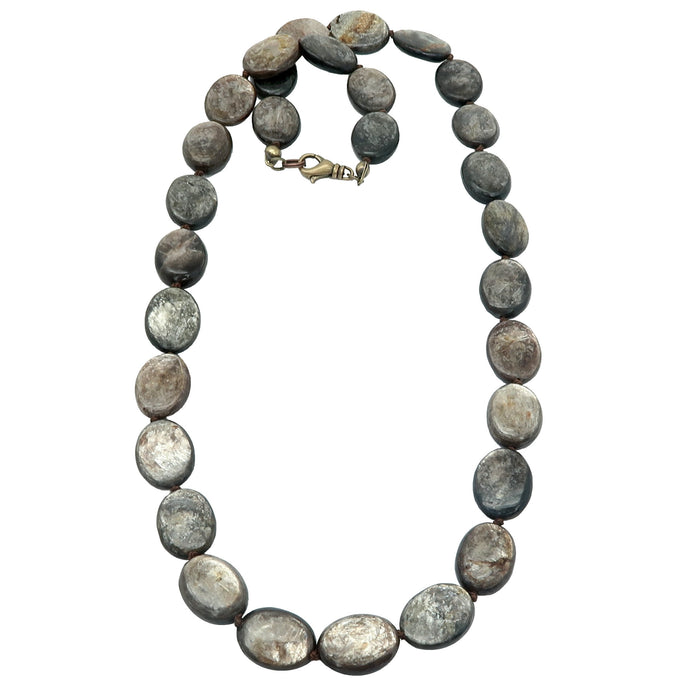 Mica Necklace Shiny Personality Gold Oval Gemstone Beads