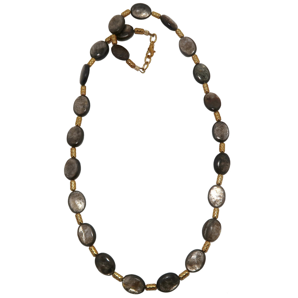 Mica Necklace Boutique Genuine Black Sheen Oval Shiny Rare Gemstone Gold Capsule B02