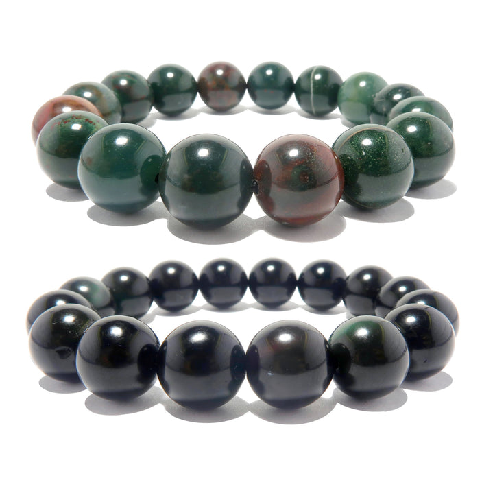 Mixed Bracelet Set 11mm Green Bloodstone Black Rainbow Obsidian Pair