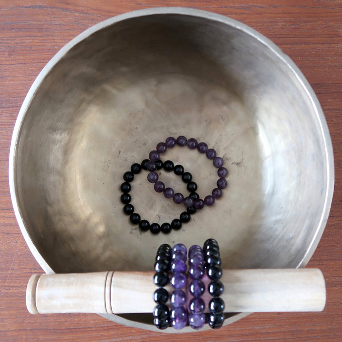 Amethyst & Tourmaline Bracelet Set Purple Black Stackable Stretch Pair
