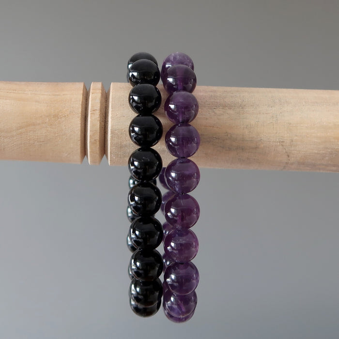 Mixed Bracelet Set 9mm Purple Amethyst & Black Tourmaline Gemstone Stretch