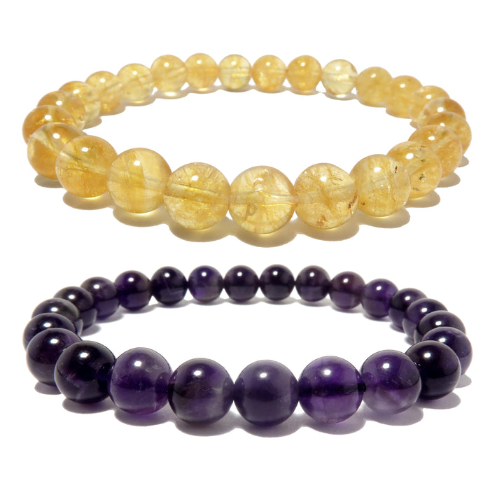 Amethyst & Citrine Mixed Bracelet Set 7mm Purple Yellow Stretch Spiritual Halo