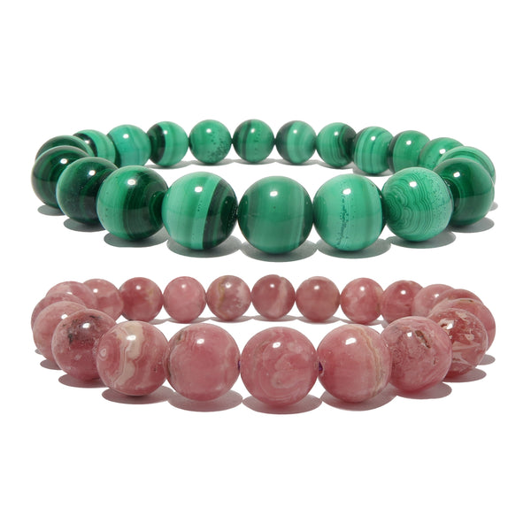 genuine green malachite and pink rhodochrosite gemstone stretch bracelets, polished 9-10mm round beads for a heart chakra jewelry set