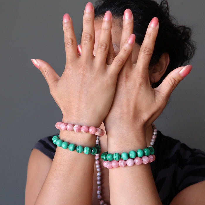 Malachite & Rhodochrosite Mixed Bracelet Set Green Pink Deluxe Gemstone Stretch