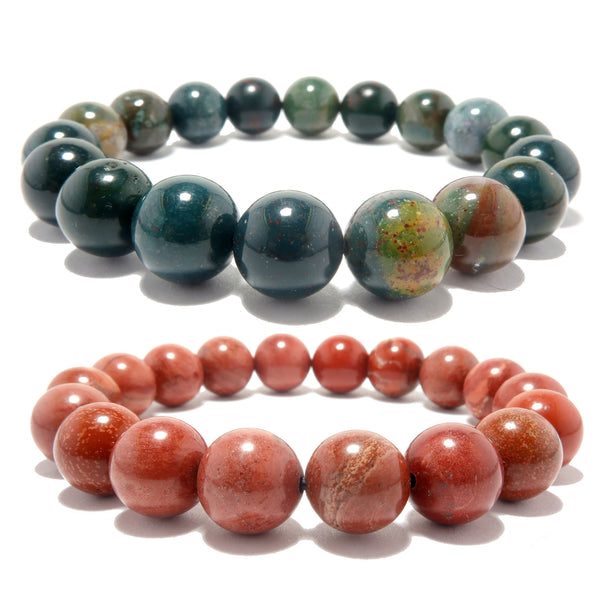Mixed Bracelet Set Boutique Red Jasper Green Bloodstone Round Holiday Stone Pair B06