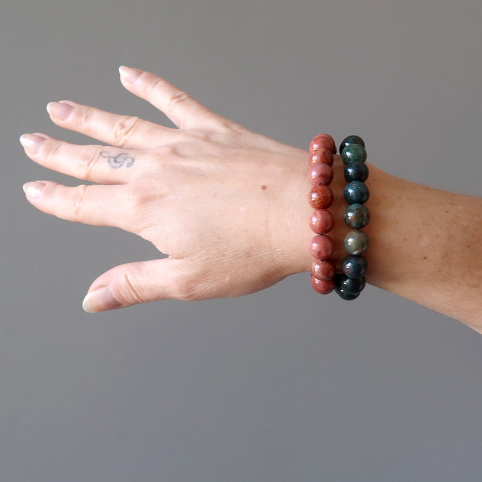 Holiday Bracelet Set Festive Party Gems Red Jasper Green Bloodstone