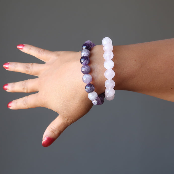 Amethyst & Rose Quartz Mixed Bracelet Set Purple Pink Stone Spiritual Love