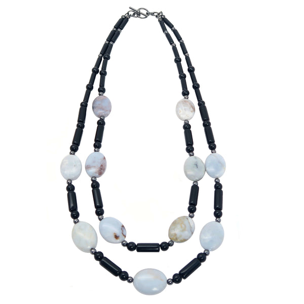 "Mixed Necklace 19"" Specialty Blue Chalcedony Black Obsidian Stone One-of-kind Double S02"