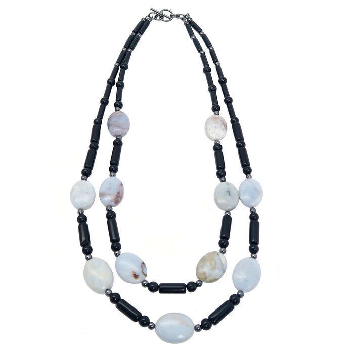 "Mixed Necklace 19"" Blue Chalcedony Black Obsidian Stone One-of-kind Double"