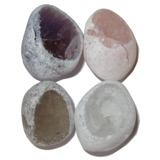 "Mixed Polished Stone Set 1.5-1.9"" Premium 4 Picture Window Amethyst Quartz Smoky & Rose P01"