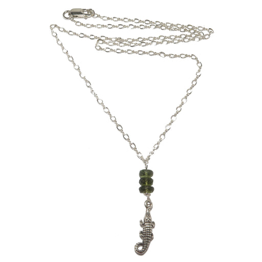Moldavite Alligator Necklace Genuine Green Meteorite Sterling Silver Animal