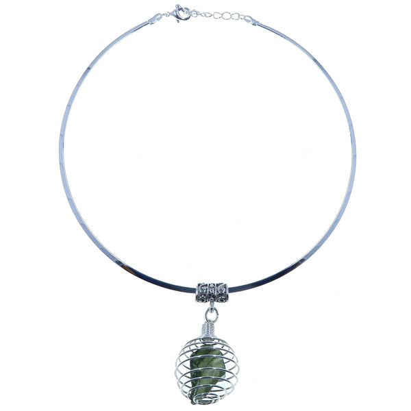 "Moldavite Necklace 15"" Silver Choker Genuine Green Meteorite Cage B03"