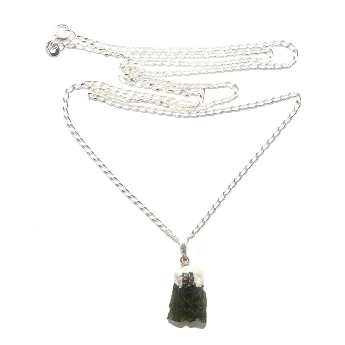 Moldavite Necklace Space Column Meteorite Real Raw Dark Green Gem Sterling Silver B08