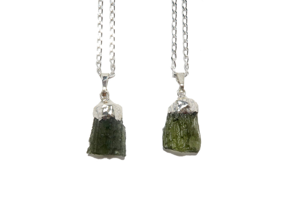 Moldavite Necklace Space Column Meteorite Real Raw Green Gem Sterling Silver