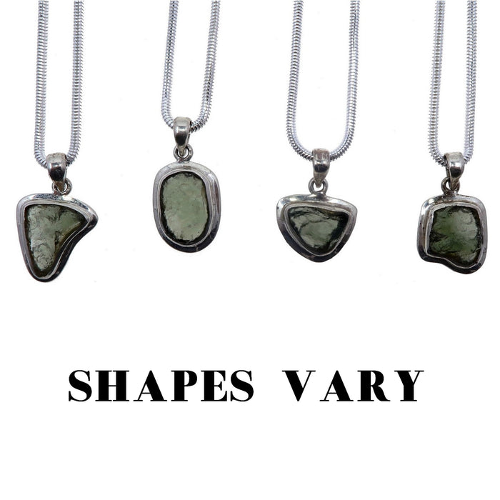 Moldavite Necklace Deluxe Thick Sterling Silver Snake Chain Real Green Meteorite