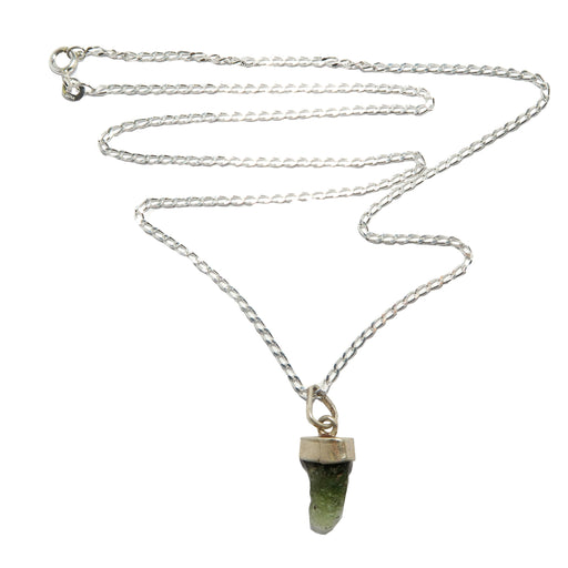 moldavite gemstone pendant on sterling silver necklace