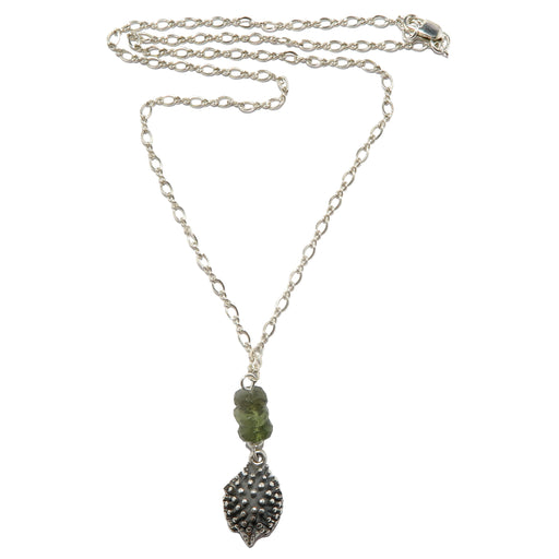 sterling silver hedgehog moldavite necklace