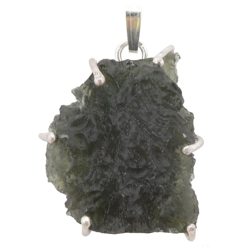 large raw moldavite in sterling silver pendant