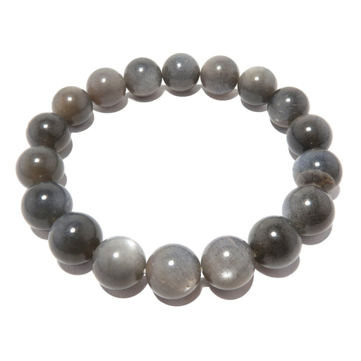 Moonstone Black Bracelet 9mm Shimmering Round Sheen Gemstone Stretch Handmade B01