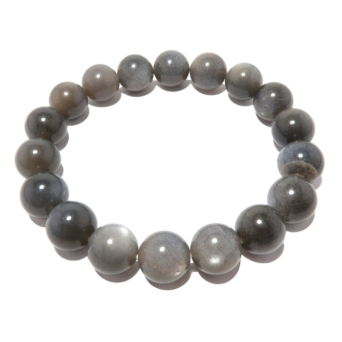 Moonstone Black Bracelet 9mm Shimmering Silver Round Sheen Gemstone Stretch