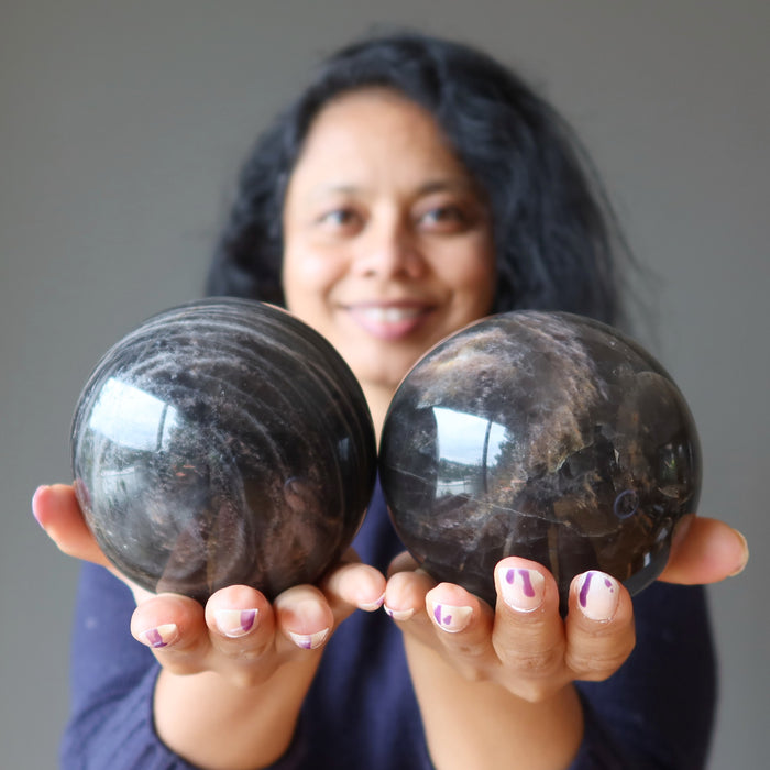 Black Moonstone Sphere with Metal Sphere Stand  Moonstone Crystal  Cancer Zodiac Crystal Stone Gift  Fertility Full New Moon Crystal