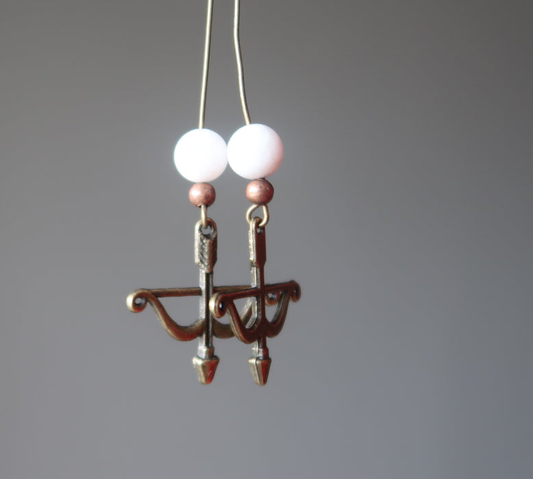 Moonstone Earrings Archery Bow Arrow White Gemstone Antiqued Long