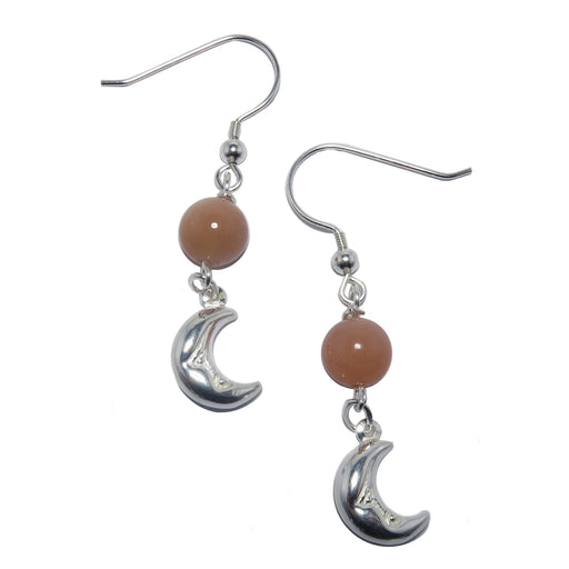 peach moonstone sterling silver crescent moon dangle earrings
