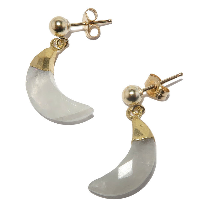 faceted rainbow moonstone crescent moon gold post earrings