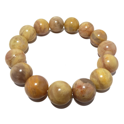 Moonstone Medley Bracelet 14mm Earthy Yellow Bumblebee Stone Round Stretch Statement B02