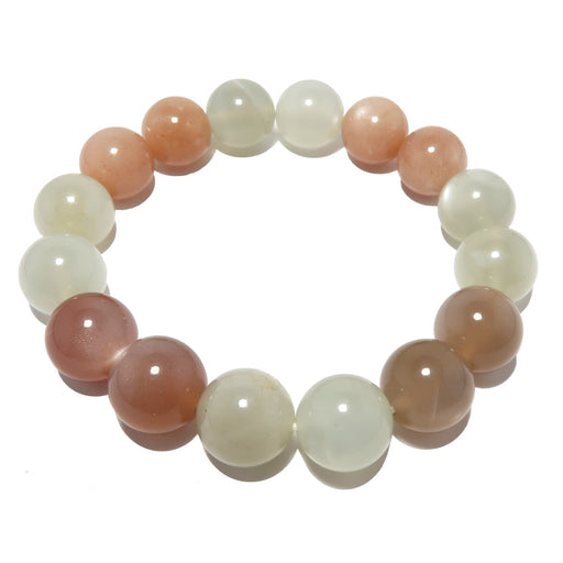 genuine mixed moonstone stretch bracelet beaded with natural pink peach silver white round beads.