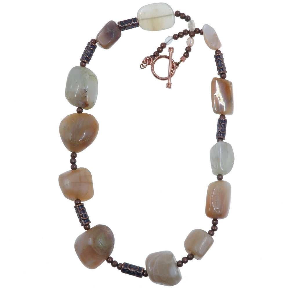 Moonstone Necklace One-of-Kind Chunky Peach Stone Copper Steampunk