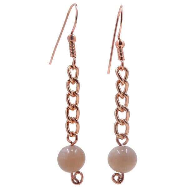 "Moonstone Pink Earrings 2.5"" Boutique Gemstone Crystal Healing Dangle Copper Chain B01"