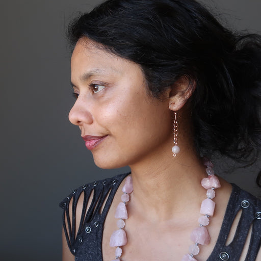 sheila of satin crystals wearing pink moonstone copper chain earrings