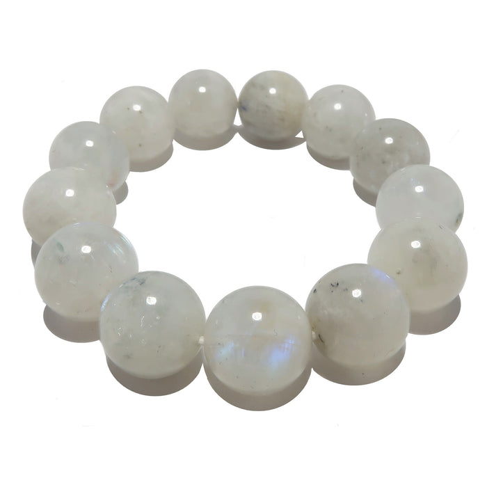 14mm white rainbow moonstone beaded stretch bracelet