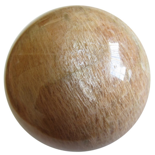 EXTRA SHINY SATIN CRYSTALS MOONSTONE SPHERE HAS A PEACH TONE AND SILVER SHEEN