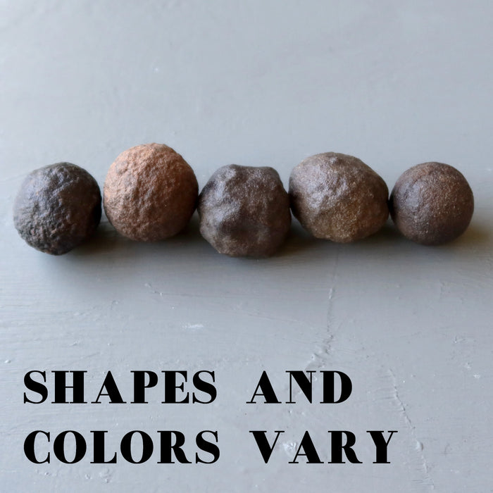 set of 5 brown moqui marble stones showing different shapes and colors