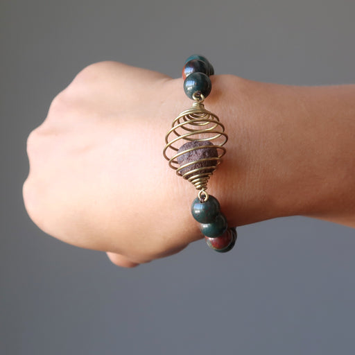 moqui marble in vintage cage bloodstone beaded stretch bracelet on wrist