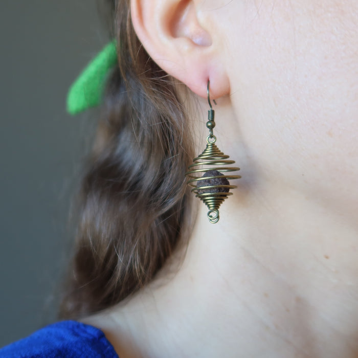Moqui Marble Cage Earrings Grounding Shaman Stones Vintage Brass