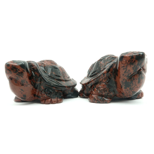 "Obsidian Animal Turtle Set 2.5"" Mahogany Protection Stone Pair"