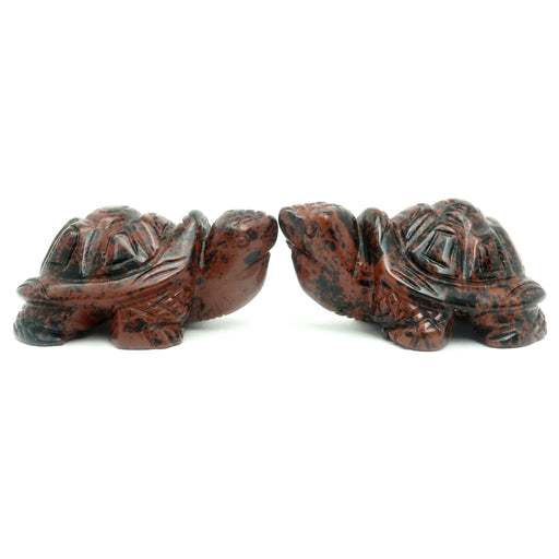 Mahogany Obsidian Turtle Set of 2 Longevity Protection Stone Pair