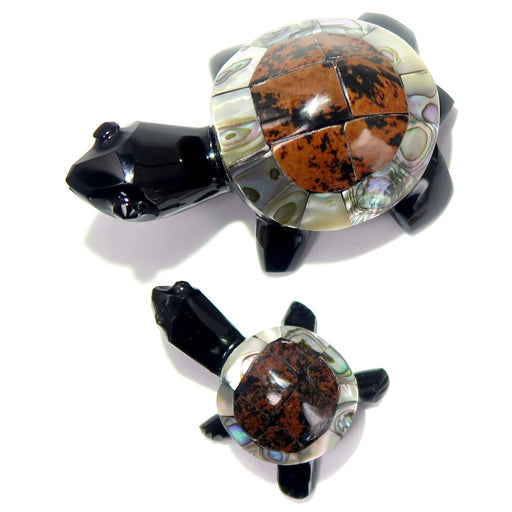 mother and baby obsidian and abalone shell turtle figurines