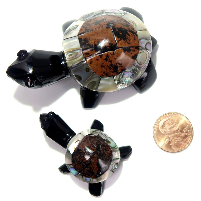 Obsidian Turtle Mother Baby Set Abalone Shell Mahogany Black Figurines