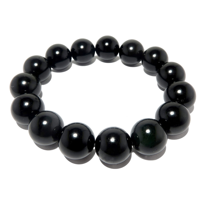 Obsidian Black Bracelet 11mm Round Protection Stone Beaded Stretch