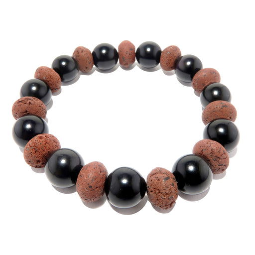 genuine round black obsidian and saucer-shaped red lava beaded stretch bracelet, handmade in the satin crystals jewelry studio in usa
