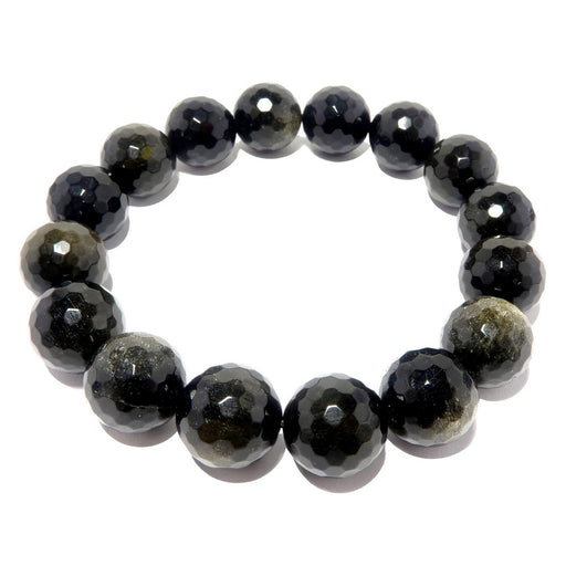 faceted black gold sheen obsidian beaded stretch bracelet