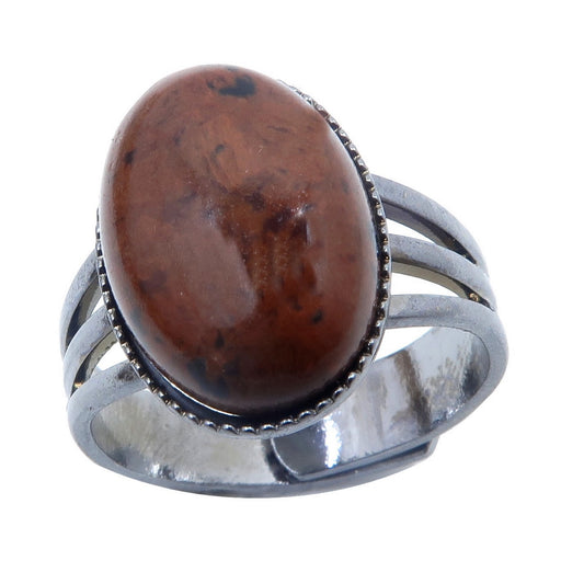 mahogany obsidian oval in gunmetal adjustable ring