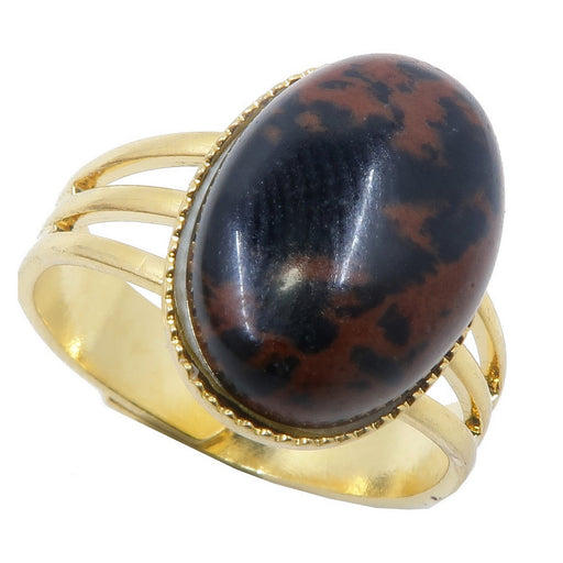 black and brownish red mahogany obsidian oval in gold adjustable ring