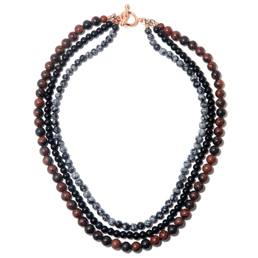 Obsidian Medley Necklace 3-Layer Black Mahogany Snowflake Multi-Strand Beaded