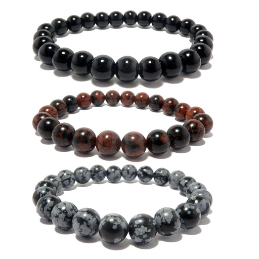 a trio of obsidian bracelets in black mahogany and snowflake